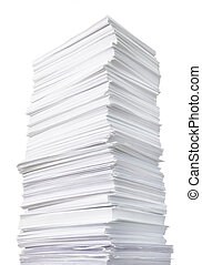huge paper stack against the white background