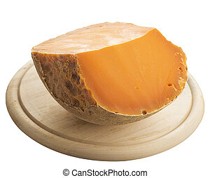 Huge piece of Chedar cheese isolated - Chedar cheese placed...