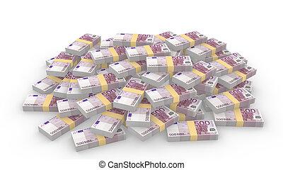 Huge pile of random 500 euro bills on white