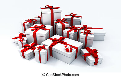 Huge pile of white gift boxes with red ribbons on a neutral background
