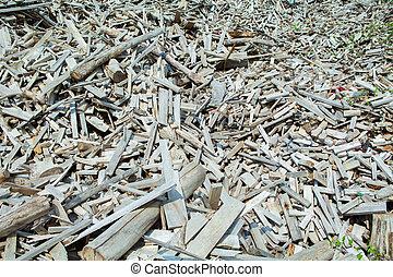 Huge pile of wood debris