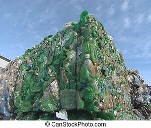 Huge piles of pressed pet bottles