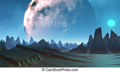 Huge planet and sharp peaks of moun