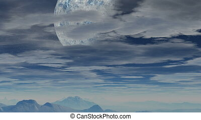 Huge planet appears from behind the