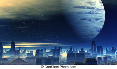 Huge Planet over Alien City - In the city of thick white fog...