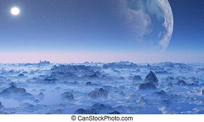 Huge planet over the horizon.
