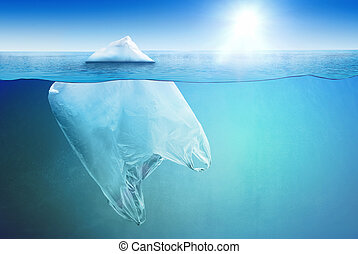 Huge plastic bag floating in the open sea as an iceberg