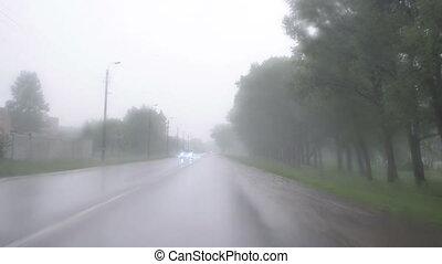 huge rain car windscreen - Huge rain falling on windscreen...