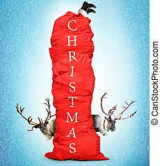 Huge red bag of Santa Claus
