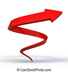 Huge red kinked arrow pointing up. 3D