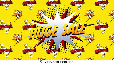 Huge sale, boom and zap text on speech bubble against yellow...
