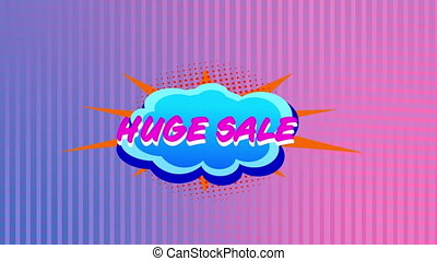 Huge sale graphic on cloud shaped banner