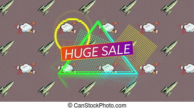 Huge sale text against rocket and speech bubble icon - ...