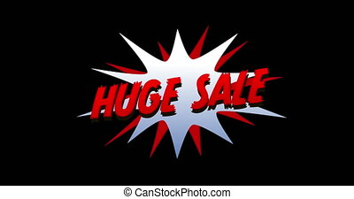 Huge Sale text in cartoon style explosion 4k - Animation of ...