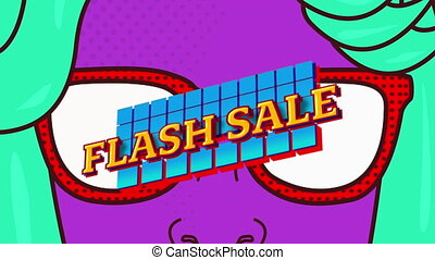 Huge sale text on digital face with sunglasses against ...