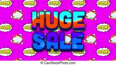 Huge sale text over boom text on speech bubble against ...