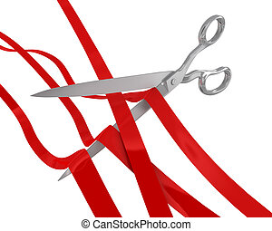 Huge scissors cut many ribbons