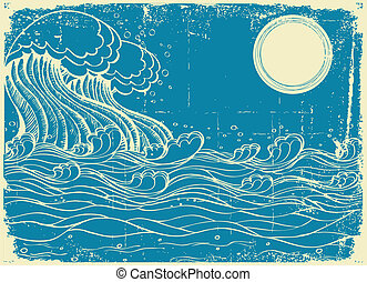 Huge sea waves. Vector grunge illustration of nature