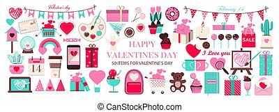 Huge set of icons for Valentine s day. Vector illustration of 50 objects for the holiday on February 14. Set of flat design drawings for romance, wedding, date, invitation, greeting card, love. Icons for banners, sales. Cute pink and blue images for Valentine s day.