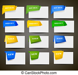 Huge set of origami paper banners and stickers Vector...