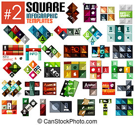 Huge set of square infographic templates #2 for business...