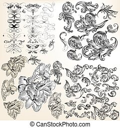 Huge set of vector flourishes, swirls and hand drawn flowers.eps