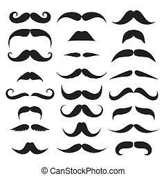Huge set of vector mustache isolated on white background.