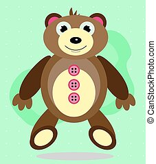 Huge, smiling teddy bear on a green background