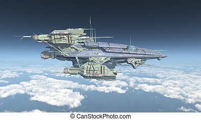 Huge spacecraft over the clouds - Computer generated 3D...