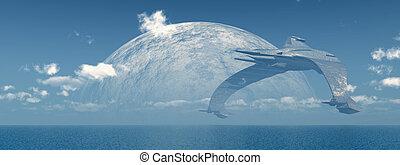 Huge spaceship over the sea