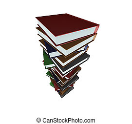 Huge stack of books - 3D render of a huge stack of books