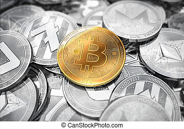 Huge stack of cryptocurrencies with a golden bitcoin on the...