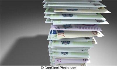 Huge stack of Euro bills.