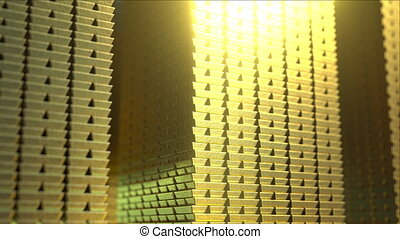 Huge stacks of shiny gold bars, loopable 3D animation - Huge...