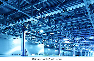 Huge storehouse toned in the blue color