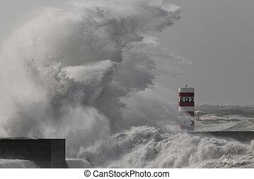 Huge stormy wave splash