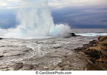 Huge Stormy Weather Ocean Splash - A huge wave splashes onto...