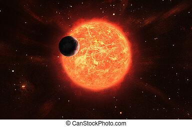 Huge sun with a moon