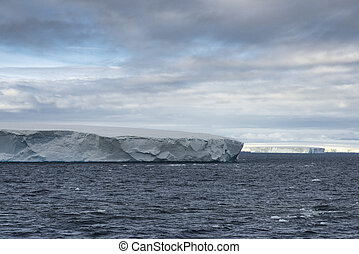 Huge Tabular Icebergs floating in Bransfield Strait near the northern tip of the Antarctic Peninsula, Antarctica