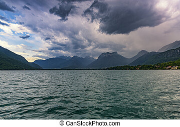 Huge Thunderstorm over Annecy lake, France.
