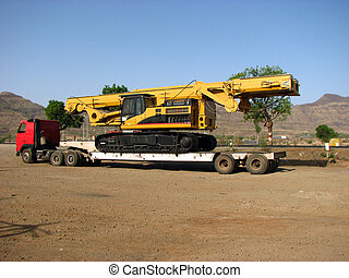 Huge Trailer - A huge trailer/truck carrying a crane.