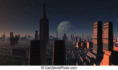 Huge UFO Over Alien City