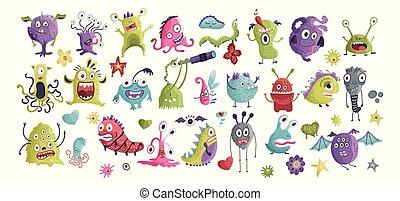 Huge vector clip art monster collection.