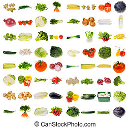 huge vegetable collection isolated on a white background,...