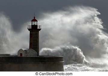Huge wave over lighthouse