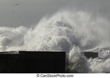 Huge wave splash