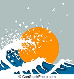 Huge waves turn into birds. Template for concert poster