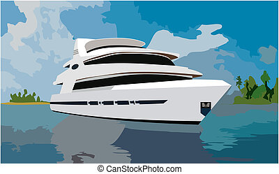 A huge yacht on background of sea and islands