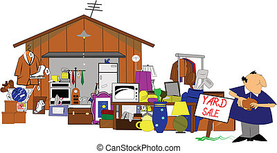 huge yard and garage sale - yard sale with man standing ...