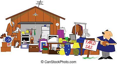 huge yard and garage sale - yard sale with man standing ...